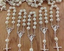 10%off weekend sale 160 Pearl mini Rosaries with cross, Favors, Communion, Confirmation, Baptism, Christening, Wedding, Recuerditos, Boda, C