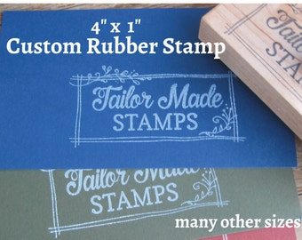 "Custom Logo Stamp, Packaging Rubber Stamp, 1"" x 4"" Wood Mounted"