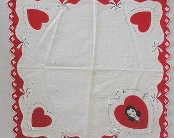 Vintage Valentine Hankie Woman with Rhinestone Necklace Red Hearts