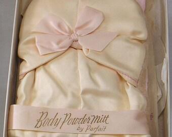 Vintage Parfait Pink Satin Body Powder Mitt in Original Box