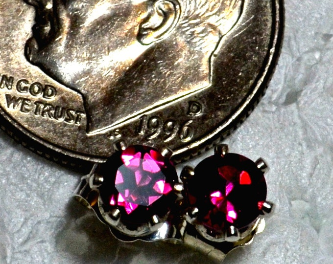 Pink Tourmaline Studs, 4mm Round, Natural, Set in Sterling Silver E957