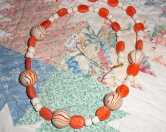 "Necklace 24"" long ""ORANGE SWIRL MARBLES"" #295"