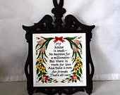 """Vintage Cast Iron and Tile Trivet, made by Cherry, poem of """"MY House"""", 1960s, made in Japan, home decor, kitchen decor"""