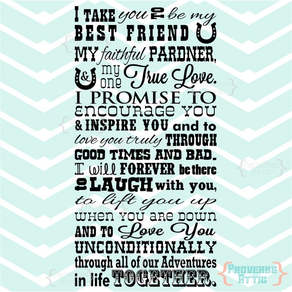I Take You To Be My Best Friend Quote Western Style Vinyl