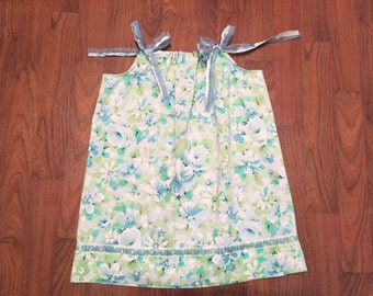 Vintage Blue Flower Pillowcase Dress