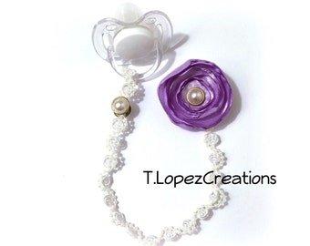 Custom Pacifier Clip, LAVENDER Silk Flower. Pearl center piece and double pearl at the clip, along with mini pearls on the chain.