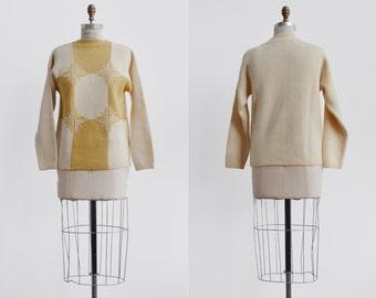Starburst Sweater / 1960s atomic print wool pullover / vintage creme knit