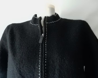 Free Ship Sz S M Boiled Wool Sweater Jacket - Black - Zipper Front - Casual