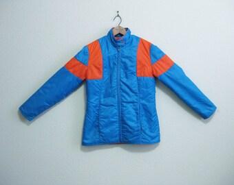 Blue Orange Puffer Jacket Medium - Vintage Ski Jacket - CANADA
