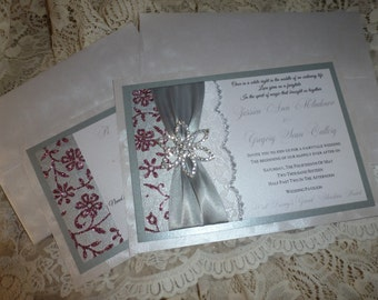 "Silver Wedding Invitation Sample - ""Sparkle Flower"""