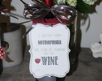 """Hilarious """"Novinophobia"""" Wine Tag"""