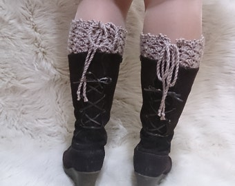 Lace up boot cuffs, crochet boot cuffs, adjustable, boot cuffs, lace boot cuffs, wool boot cuffs, girlfriend gift, Lace up, last minute gift