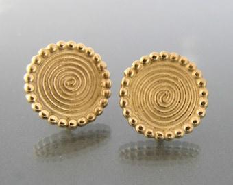 gold earrings 14k, gold spiral earrings, gold studs, gold stud earrings 14k, gold stud earings, yellow gold stud earrings, ancient jewelry
