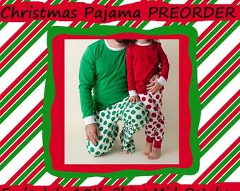 Christmas Pajamas, Christmas PJs, Holiday Pajamas, Personalized, Monogramed, Monogram, Adult, Children's, Baby, Doll, Kids, Family, Preorder