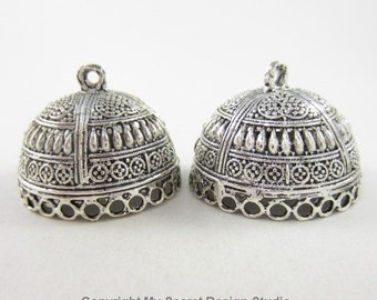 2pcs 29mm-Opening-Round End Cap with 25-Dangling-Holes Highly Textured Silver Plated (F2142)