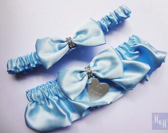Personalised Wedding Bridal Elegant Vintage Blue Satin Garter Set - Tina Design