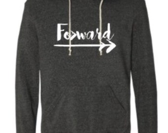 Forward hooded pullover sweatshirt