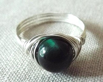 Green Tiger Eye Ring, Green Stone Ring, Wire Wrapped Ring, Irish Jewelry, Tiger Eye Ring, Dark Green Ring, Tiger Eye Jewelry, Unique Ring