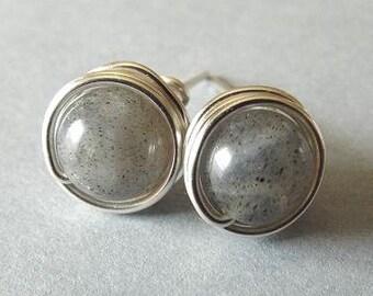 Silver Labradorite Earrings, Gray Stud Earrings, Wire Wrap Earrings, Labradorite Jewelry, Grey Earrings, Homemade Jewelry, Gift for Teen