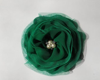 1 pc -green 110mm BIG chiffon flower for hair hand, dress  [FCH-194]