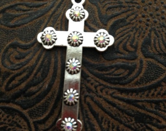 6 Piece Silver Cross Rhinestone Accents 45x35 Bling Cross Silver cross rhinestones, Rhinestone cross 22-13-R
