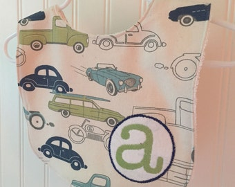 personalized bib, baby bib, baby boy bib, retro, cars