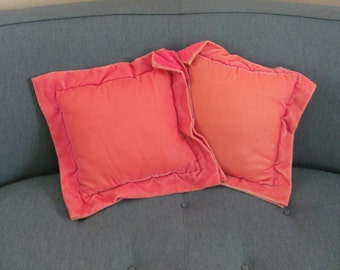 Vintage Pink Velvet Pillows, 1960's Velvet Throw Pillows, Pink Pillows, Throw Pillows, Pink, 1960's Pillows, Decor