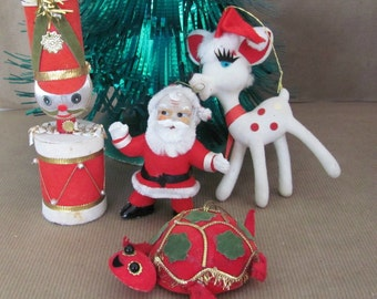 Vintage Christmas Ornaments, 1960s Japan Christmas Ornament, Santa, Reindeer, Turtle, Toy Soldier Felt Ornaments, 1960s Christmas Decor