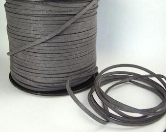 Dark Gray Faux Suede Cord 20 Feet USA Seller