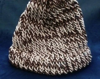 Hand knit brown white stocking cap