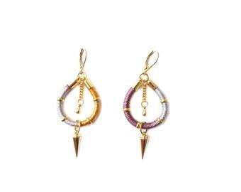 STELLA - delicate ethnic earrings, boho chic earrings, spike earrings, rope earrings, earth tones earrings, tribal earrings, colorful,modern
