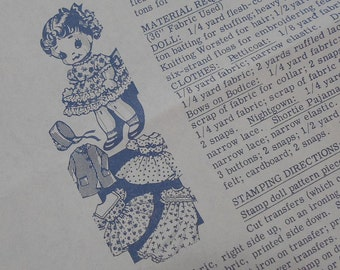 """Vintage 50s 9"""" Doll Paper Pattern Hot Iron Transfer Plus Wardrobe Clothes / Doll Making Supply / Clothes / Crafting"""