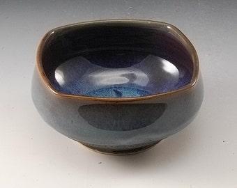 Handmade Pottery Bowl Blue Stoneware by Mark Hudak