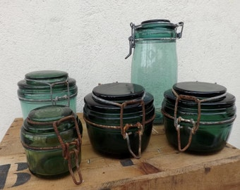 Collection of French vintage green and turquoise canning jars conserving jars preserving jars green glassware mason jars SOLIDEX DURFOR