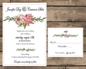 Printable Hand Drawn Floral Wedding Invitation & RSVP Card