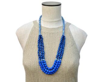 blue beaded necklace / blue statement necklace / multi strand necklace / long blue necklace / royal blue cobalt blue bright blue light blue