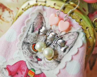 Cute Handmade Earrings with Baby Pink Hearts Faux Pearls and Silver Bows - Fairy Kei Lolita Kawaii Jewelry, Gifts for Her on Etsy