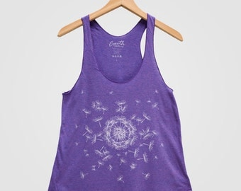 Dandelion Women Tank Top Triblend Racerback Tank Top Hand Screen Print