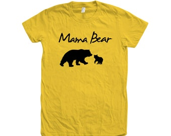 Mom Mama Bear Hand Screen Print American Apparel Crew Neck Tshirt 100% Cotton Graphic Tee