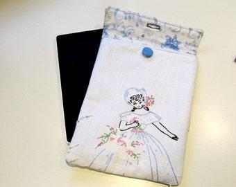 Blue Ereader sleeve, Kindle Sleeve, Tablet Cover, Fabric ereader case, protective case for ereader, Gad23