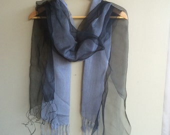 SILK and COTTON Scarf, Grey and Charcoal , 002