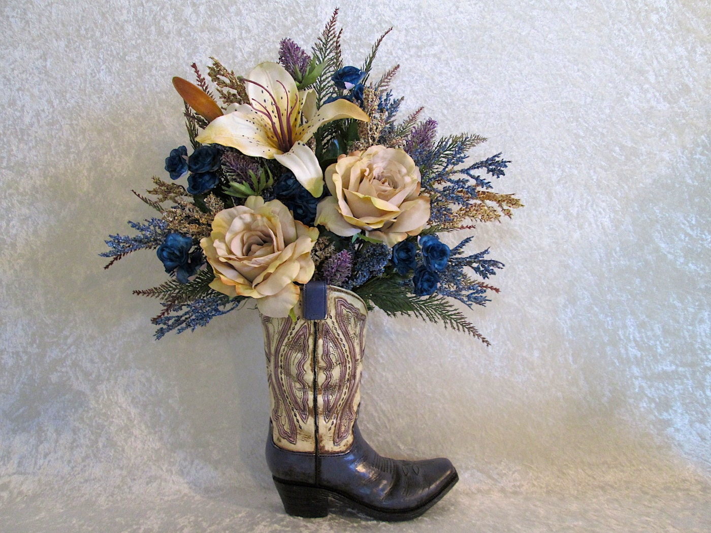 Rustic silk flower arrangement in a cowboy boot vase with a - Great decorative flower vase designs ...