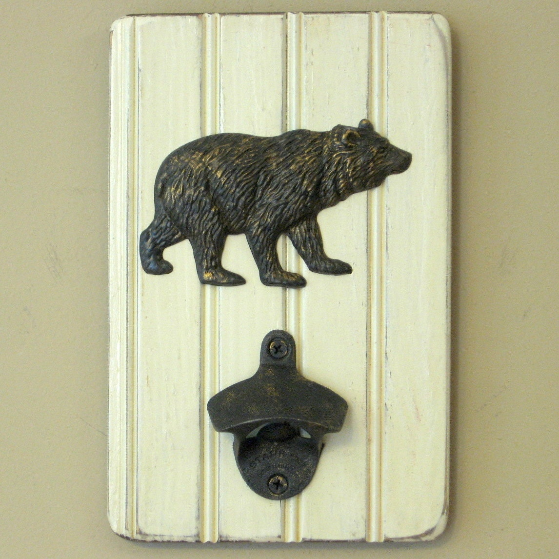 wall mounted bear bottle opener wall hanging by allisonwonderland1. Black Bedroom Furniture Sets. Home Design Ideas