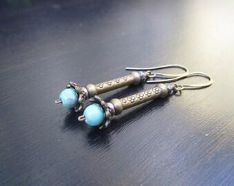 Casual dangle earrings Simple earrings Variscite earrings Mint green stone earrings Brass earrings Boho dangle earrings Everyday jewelry