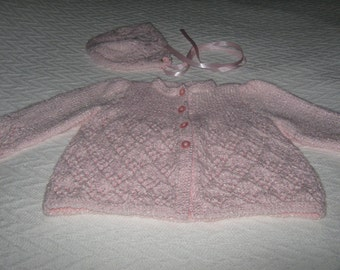 New Hand Knit Pink Baby Sweater and Bonnet