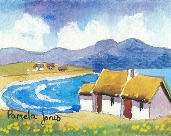 ACEO Original Watercolour, Connemara Cottage, Ireland, Miniature Painting, Gift Idea, Art And Collectibles