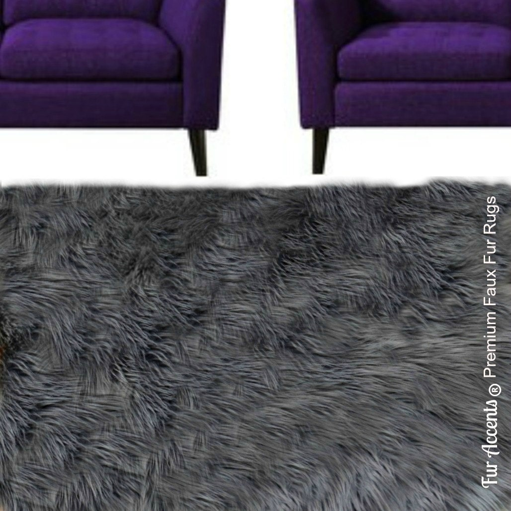 Shaggy Dark Gray Area Rug Premium Faux Fur Plush By FurAccents