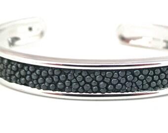 Grey shagreen leather Bangle Bracelet