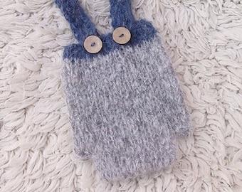 NEW! Baby knit romper, Newborn romper, Dungarees, Pkoto prop