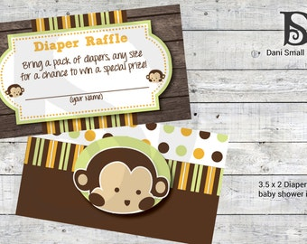 Mod Pod Pop Monkey Baby Shower Invitation Diaper Raffle Inserts Printable